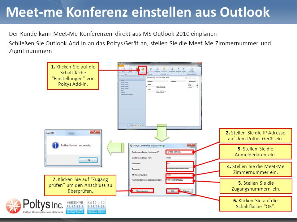 Meet-me Konferenz einstellen aus Outlook