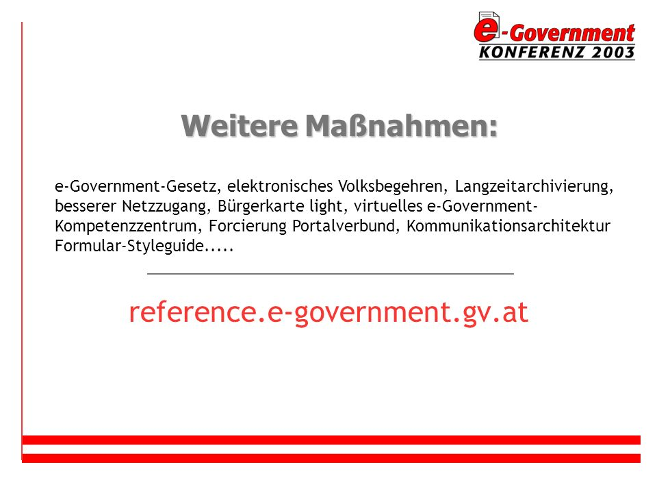 Weitere Maßnahmen: reference.e-government.gv.at