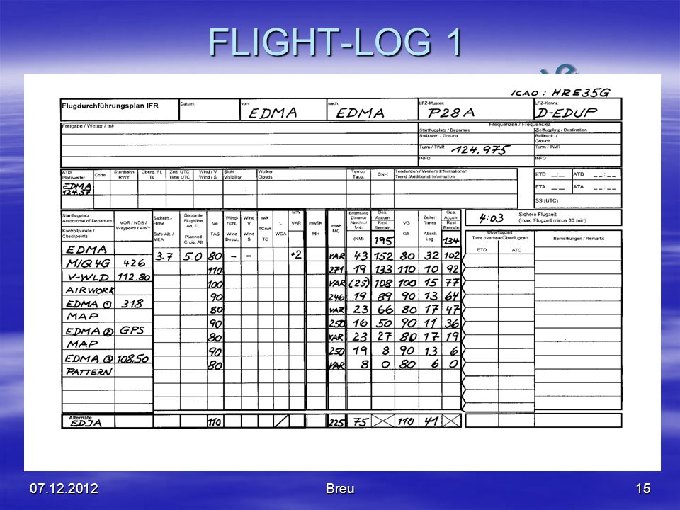 FLIGHT-LOG 1 07.12.2012 Breu