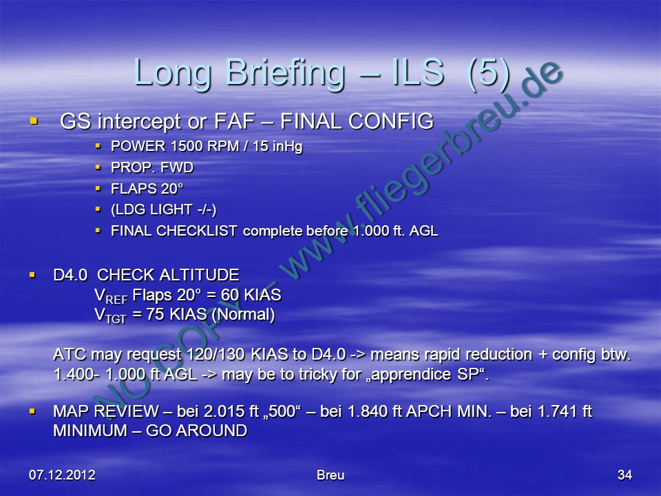 Long Briefing – ILS (5) GS intercept or FAF – FINAL CONFIG