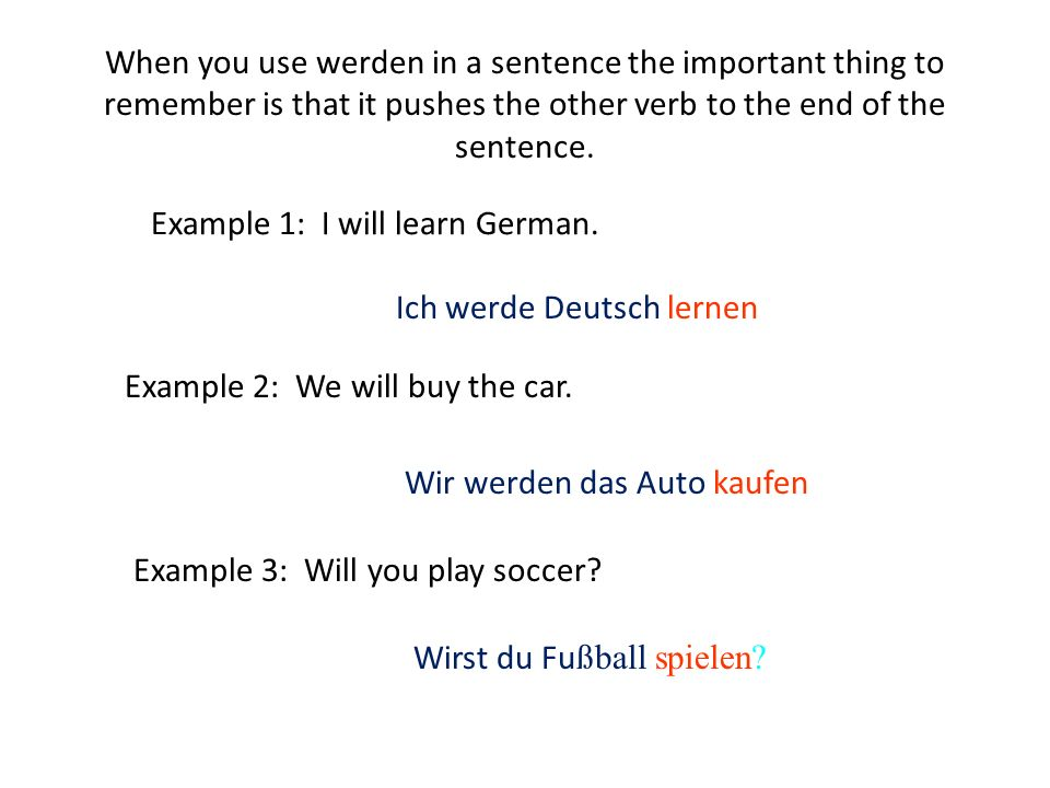 When you use werden in a sentence the important thing to remember is that it pushes the other verb to the end of the sentence.