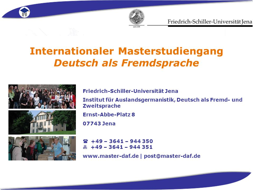 Internationaler Masterstudiengang Deutsch als Fremdsprache