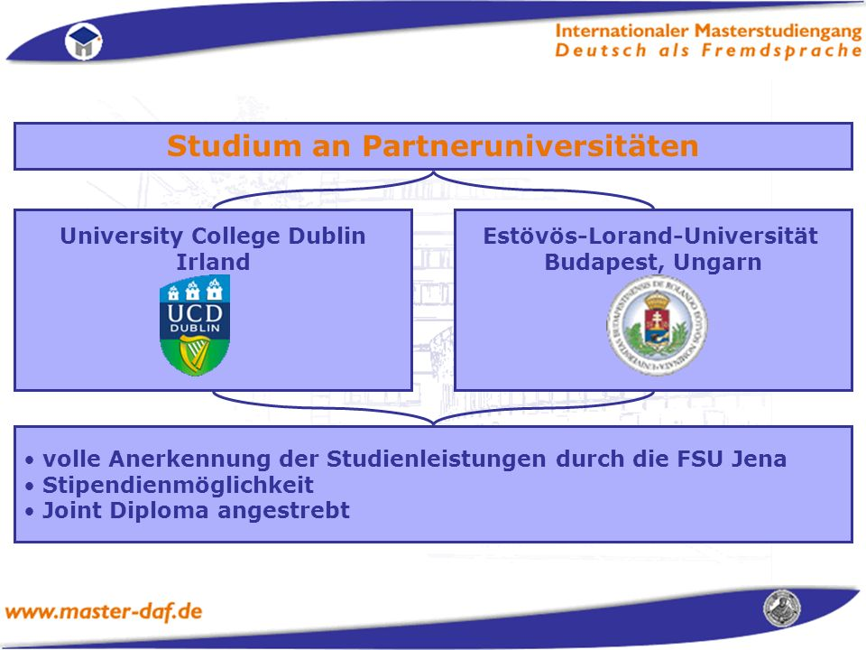 Studium an Partneruniversitäten