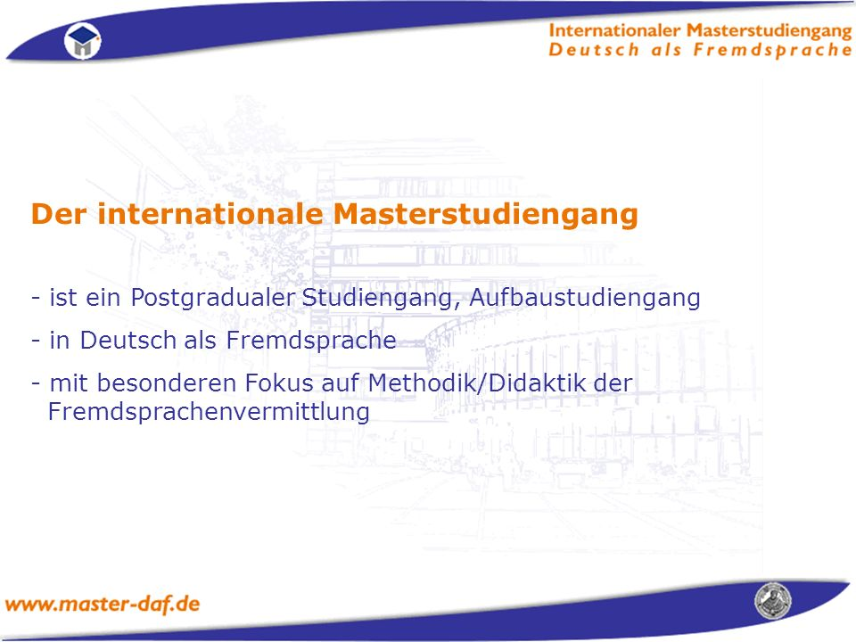 Der internationale Masterstudiengang