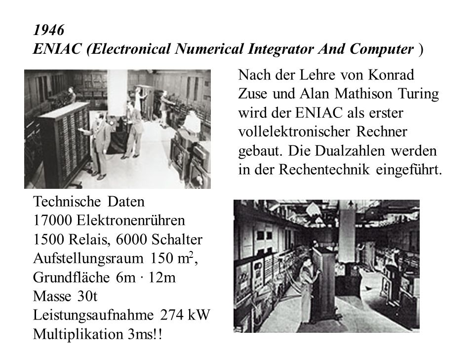 1946 ENIAC (Electronical Numerical Integrator And Computer )