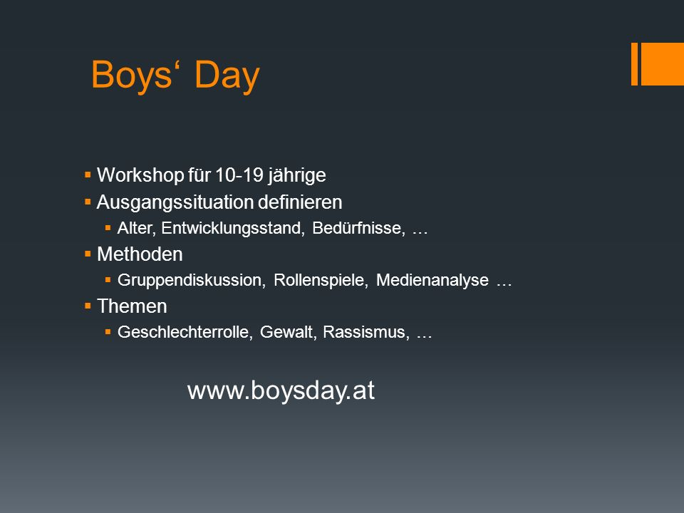 Boys' Day www.boysday.at Workshop für 10-19 jährige
