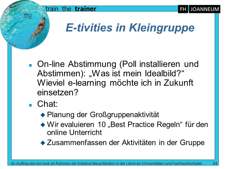 E-tivities in Kleingruppe