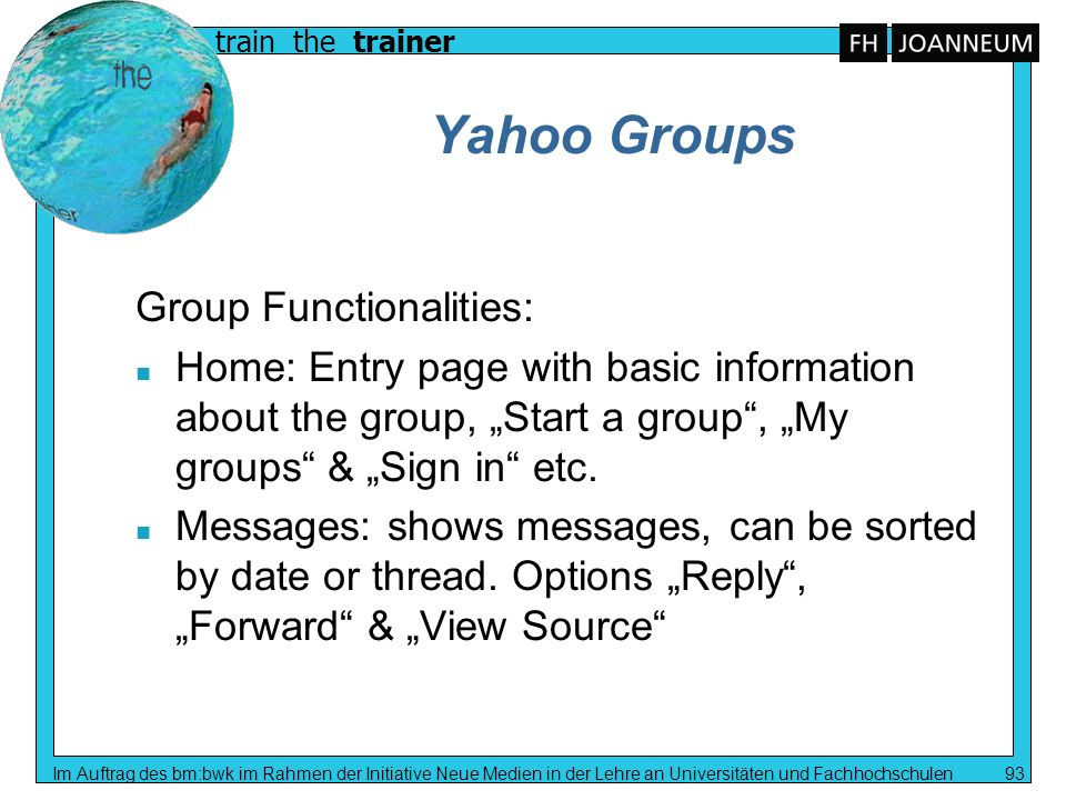 Yahoo Groups Group Functionalities: