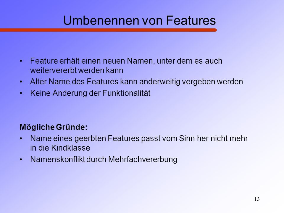Umbenennen von Features