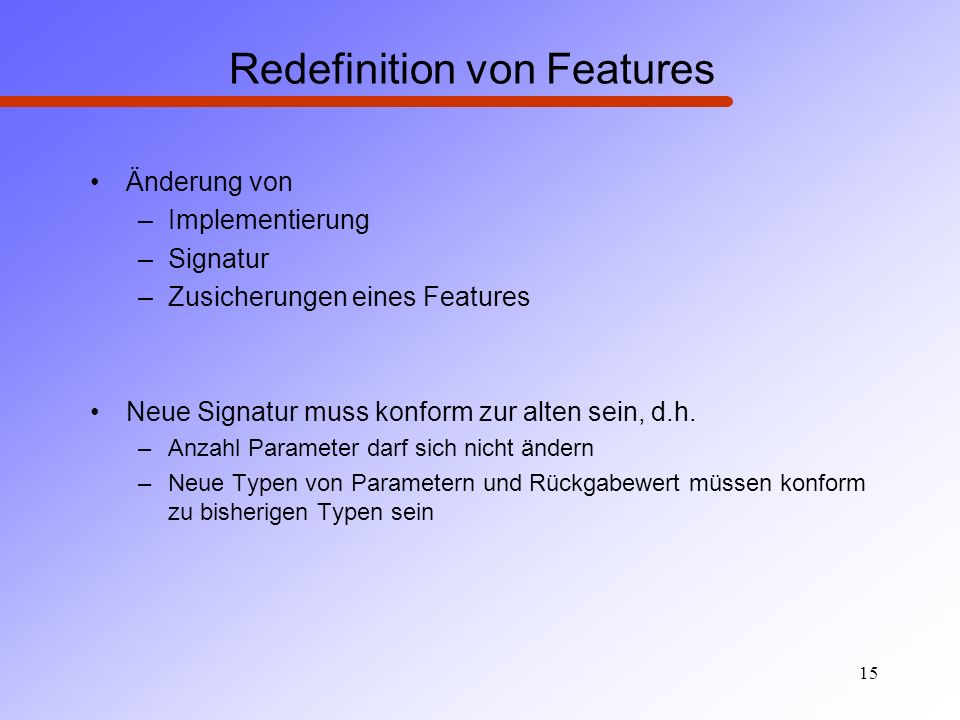 Redefinition von Features