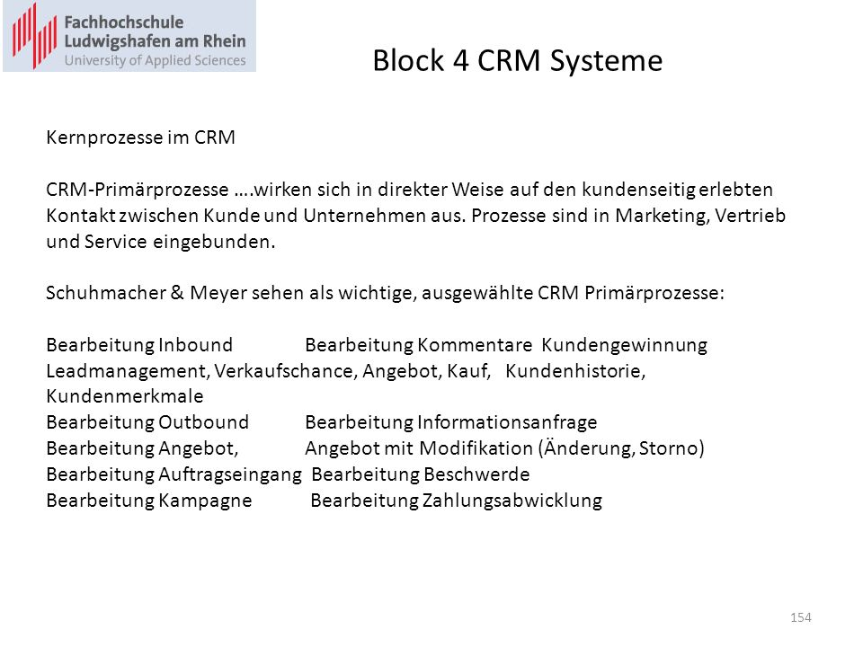 Block 4 CRM Systeme Kernprozesse im CRM