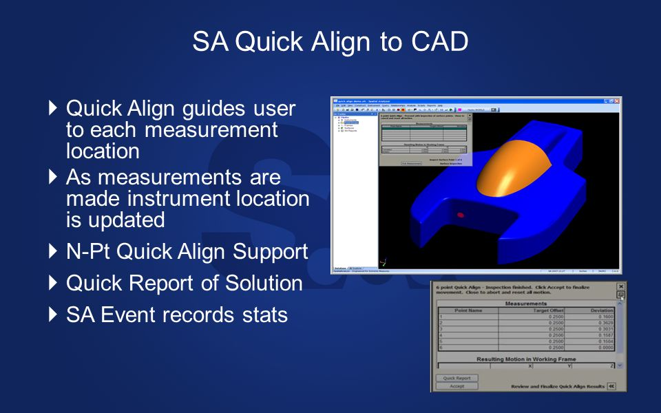 SA Quick Align to CAD Quick Align guides user to each measurement location. As measurements are made instrument location is updated.