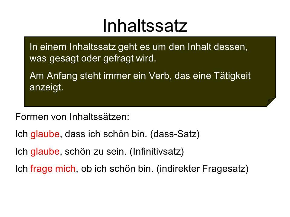 2 inhaltssatz - Infinitivsatze Beispiele