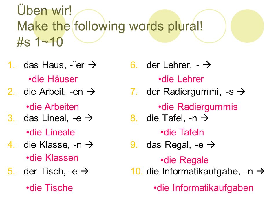 Üben wir! Make the following words plural! #s 1~10