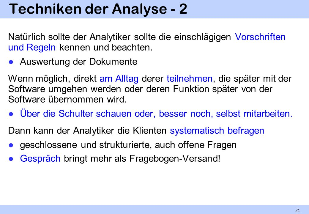 Techniken der Analyse - 2