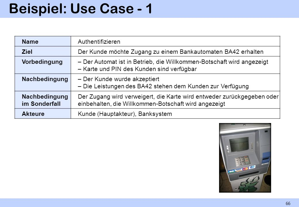 Beispiel: Use Case - 1 Name Authentifizieren Ziel