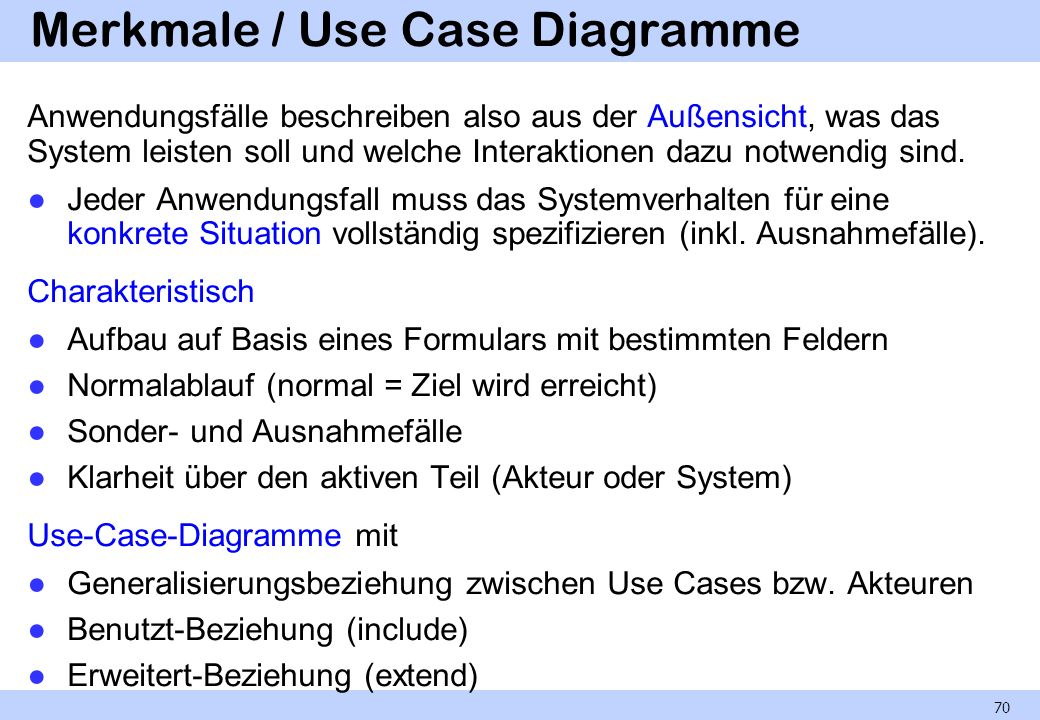 Merkmale / Use Case Diagramme