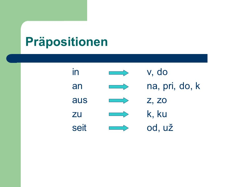 Präpositionen in v, do an na, pri, do, k aus z, zo zu k, ku