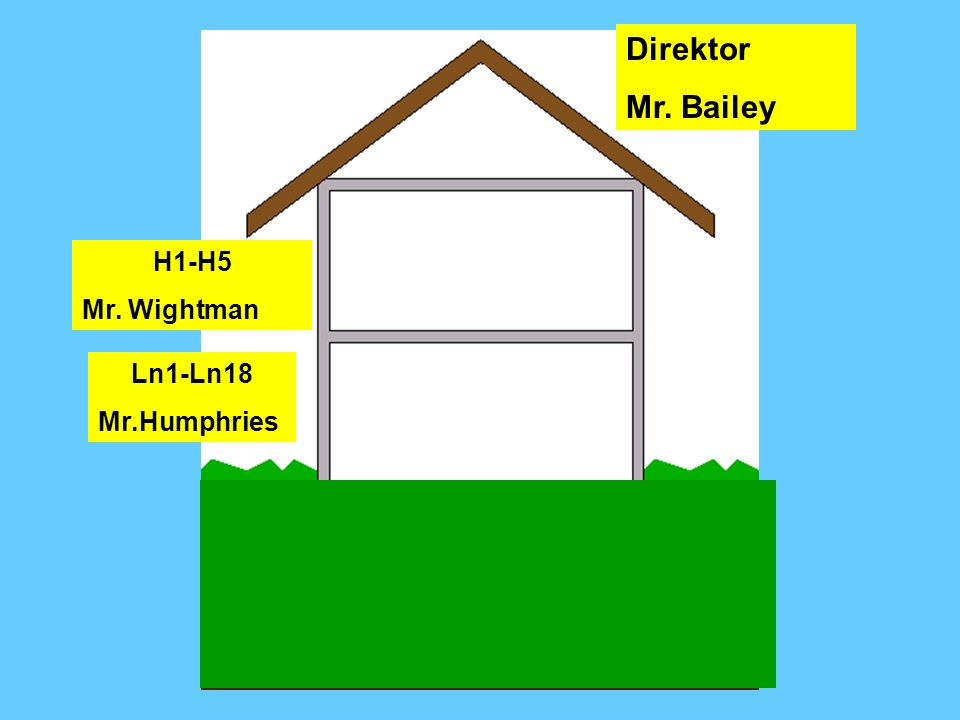 Direktor Mr. Bailey Dr Bailey H1-H5 Mr. Wightman Ln1-Ln18 Mr.Humphries