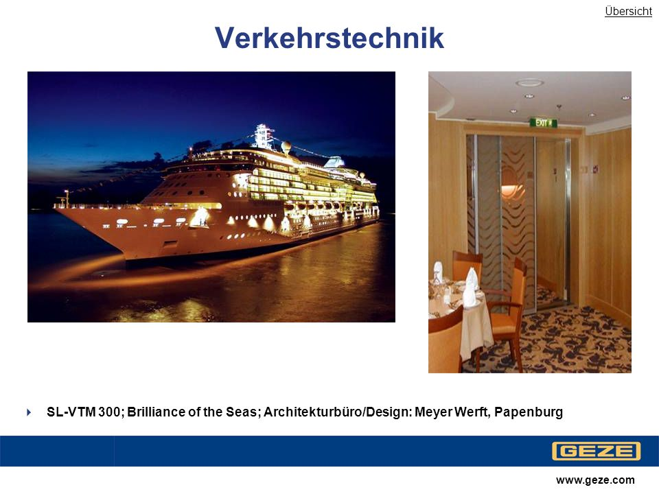 Übersicht Verkehrstechnik. SL-VTM 300; Brilliance of the Seas; Architekturbüro/Design: Meyer Werft, Papenburg.