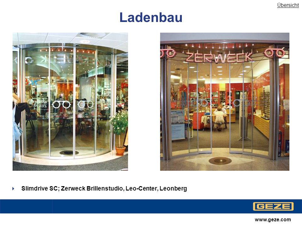 Ladenbau Slimdrive SC; Zerweck Brillenstudio, Leo-Center, Leonberg