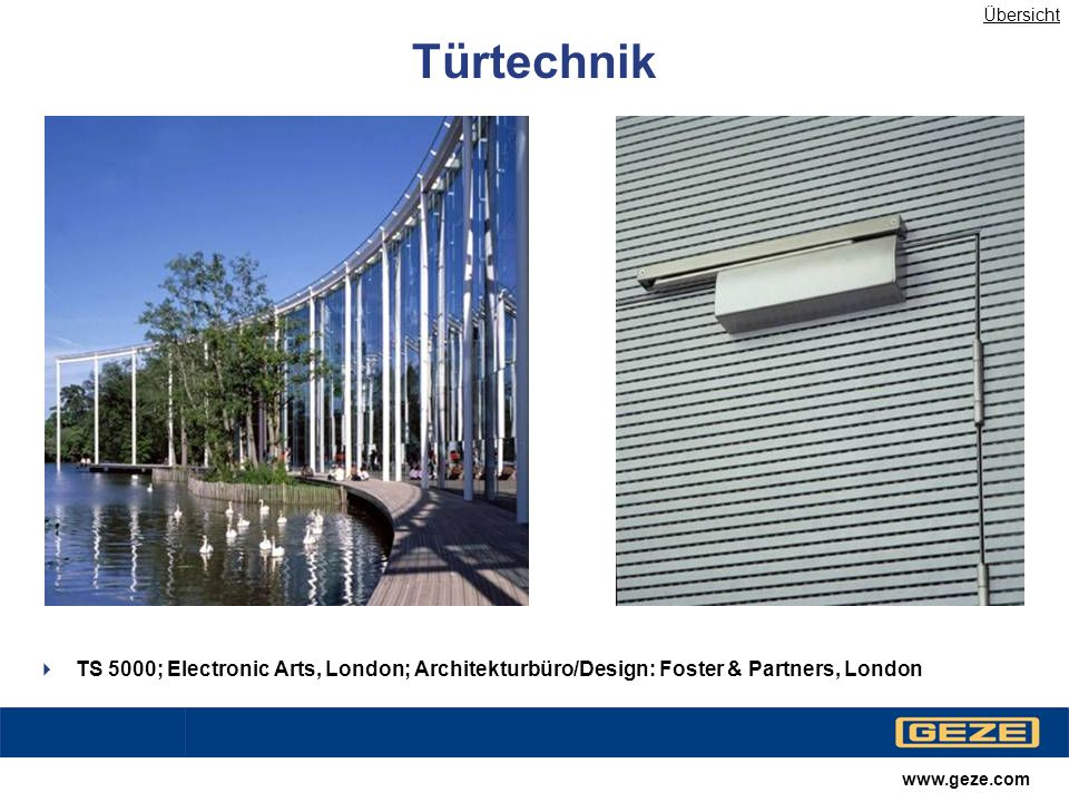 Übersicht Türtechnik. TS 5000; Electronic Arts, London; Architekturbüro/Design: Foster & Partners, London.