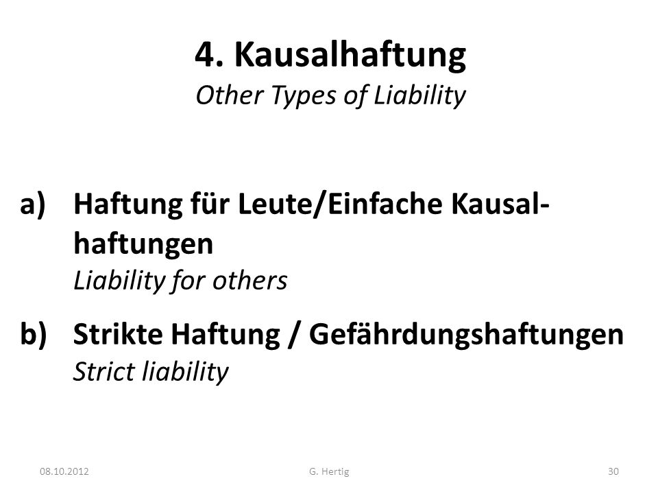 4. Kausalhaftung Other Types of Liability
