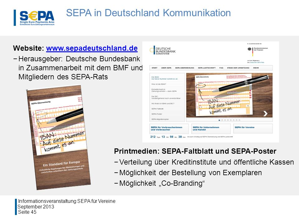 SEPA in Deutschland Kommunikation