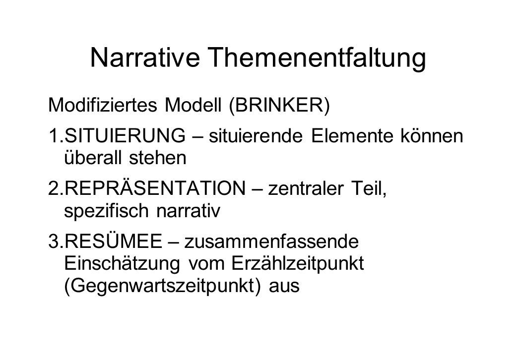 Narrative Themenentfaltung