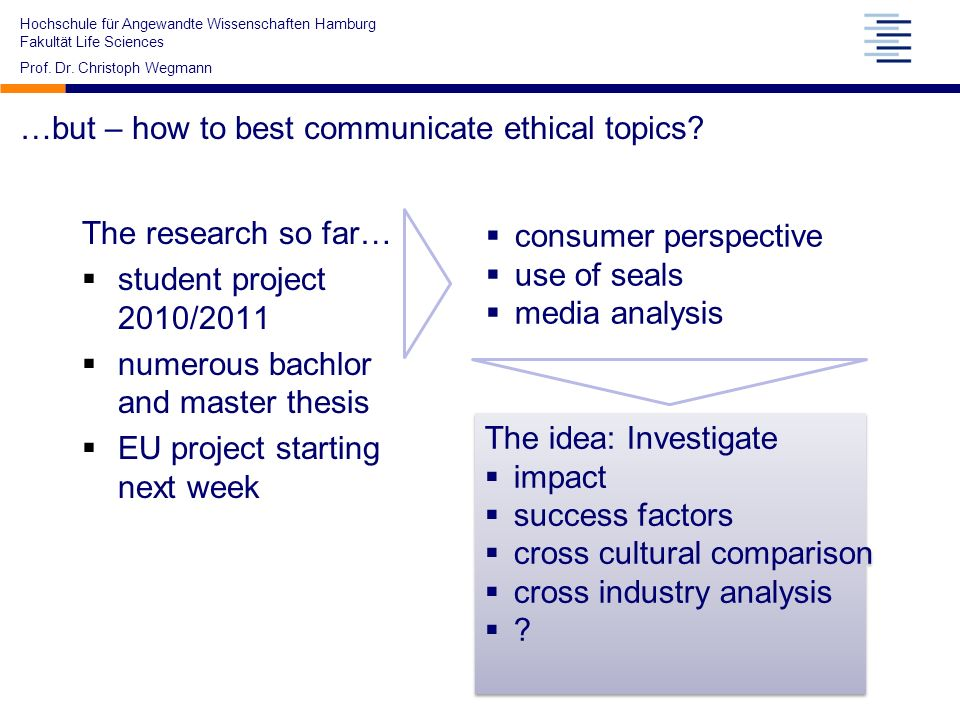 …but – how to best communicate ethical topics