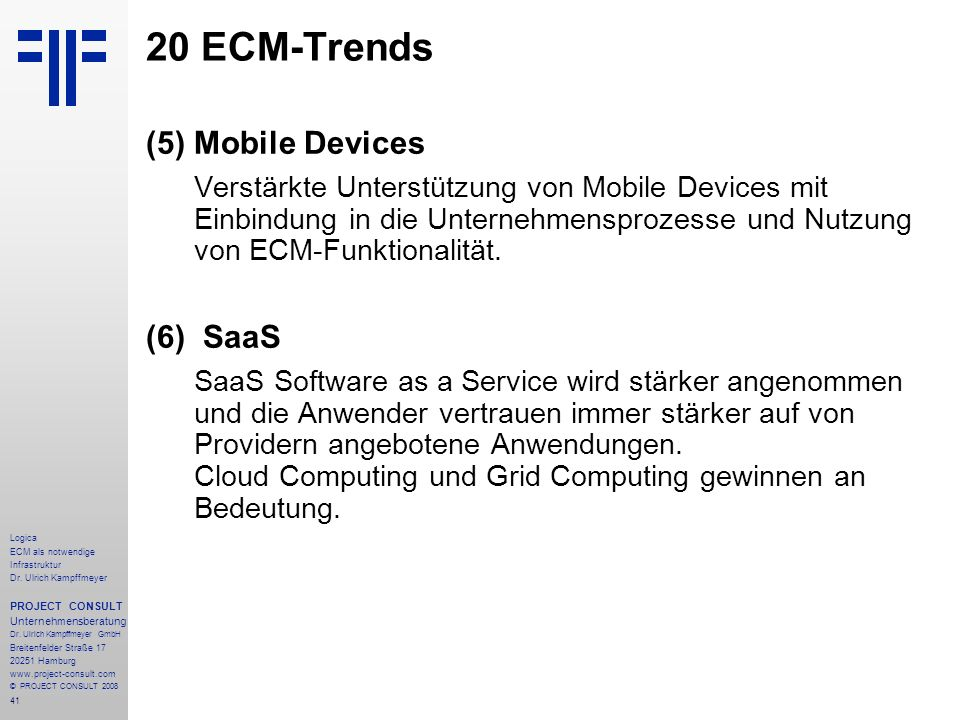 20 ECM-Trends (5) Mobile Devices (6) SaaS