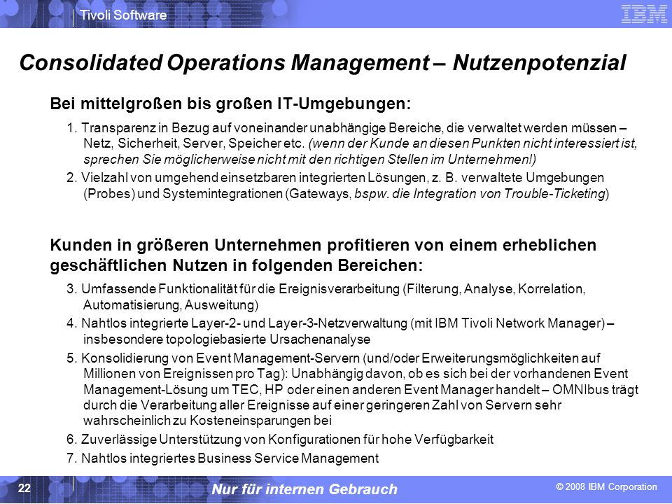 Consolidated Operations Management – Nutzenpotenzial