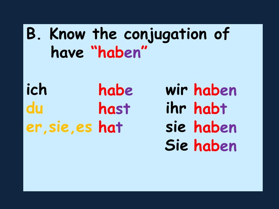 B. Know the conjugation of have haben