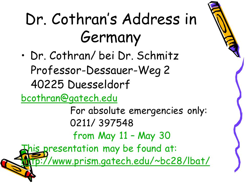 Dr. Cothran's Address in Germany