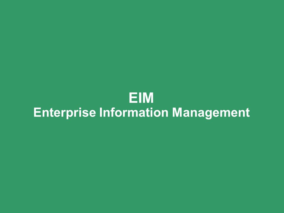 EIM Enterprise Information Management