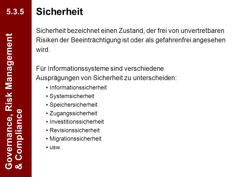 Sicherheit Governance, Risk Management & Compliance 5.3.5