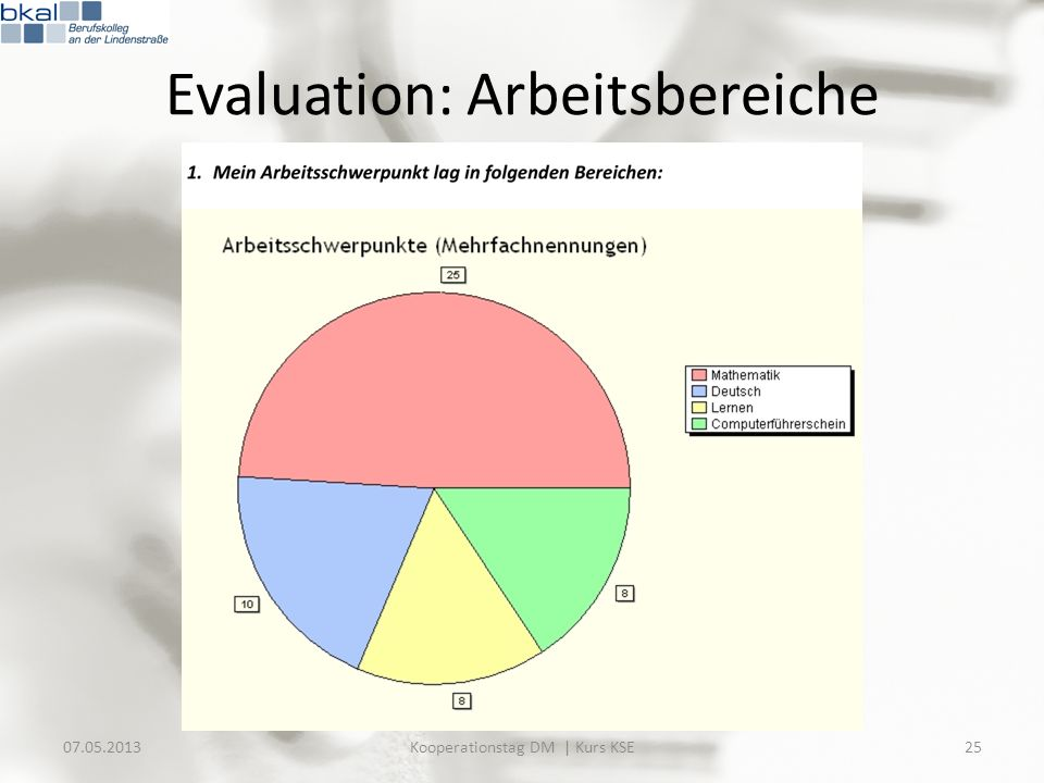 Evaluation: Arbeitsbereiche