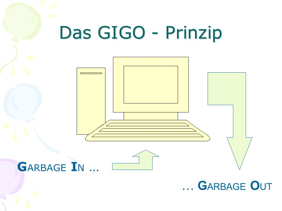 Das GIGO - Prinzip GARBAGE IN … … GARBAGE OUT