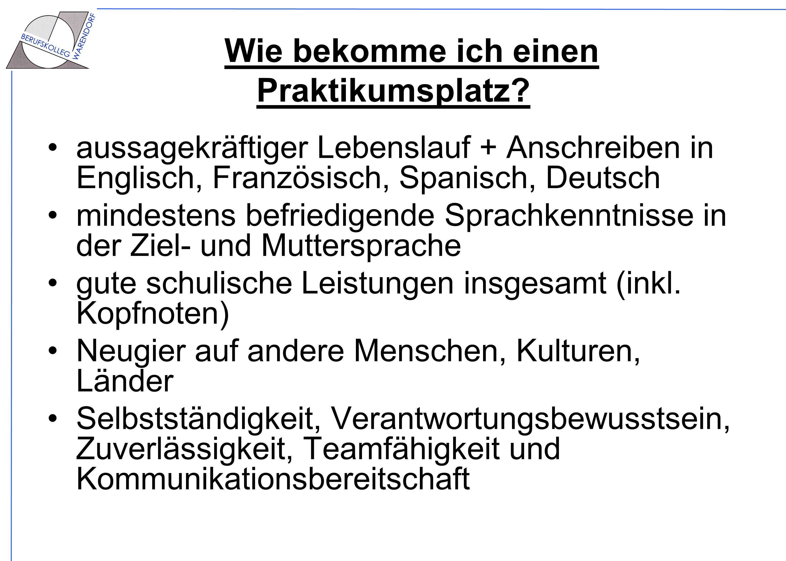 Auslandspraktikum am Berufskolleg Warendorf - ppt herunterladen