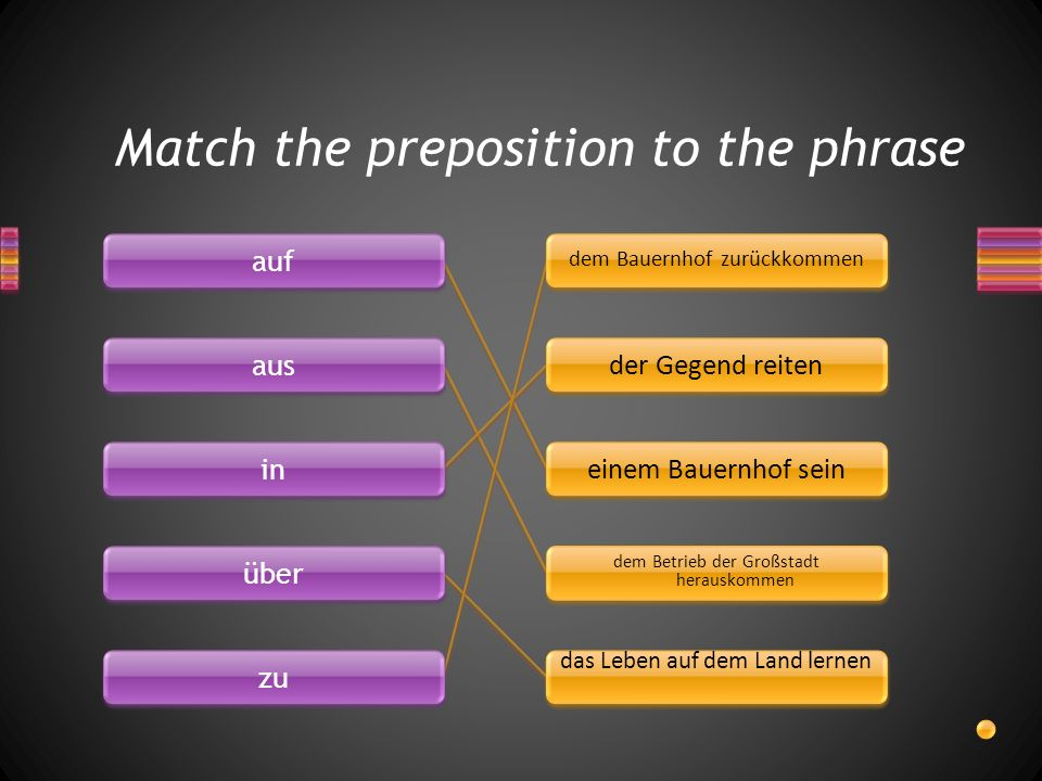 Match the preposition to the phrase