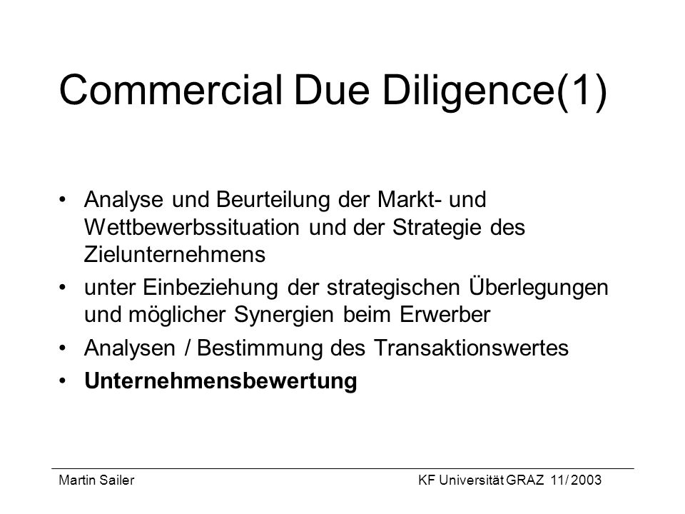 Commercial Due Diligence(1)