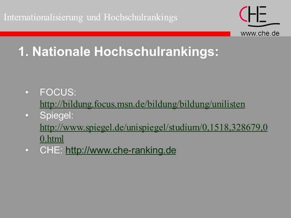 1. Nationale Hochschulrankings:
