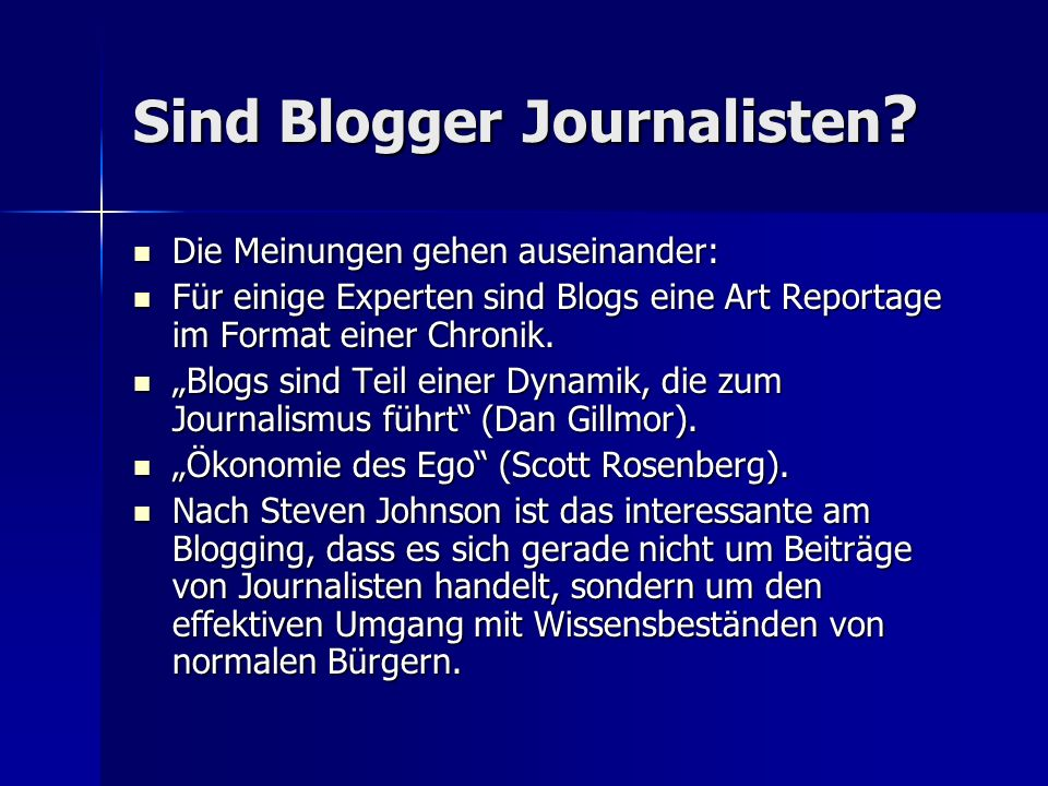 Sind Blogger Journalisten