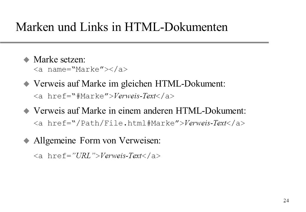 Marken und Links in HTML-Dokumenten