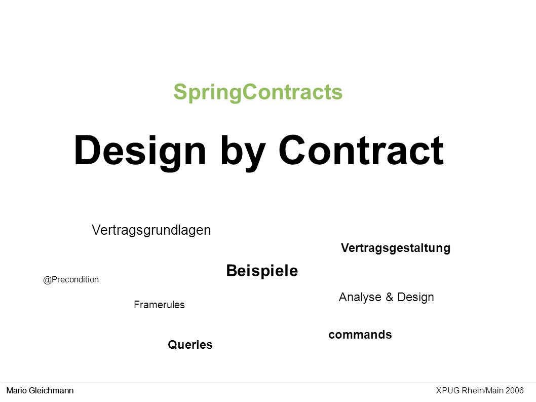 Design by Contract SpringContracts Beispiele Vertragsgrundlagen