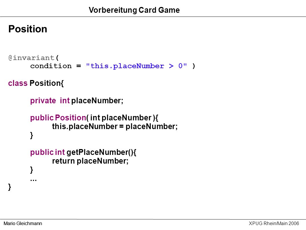 Position Vorbereitung Card Game @invariant(