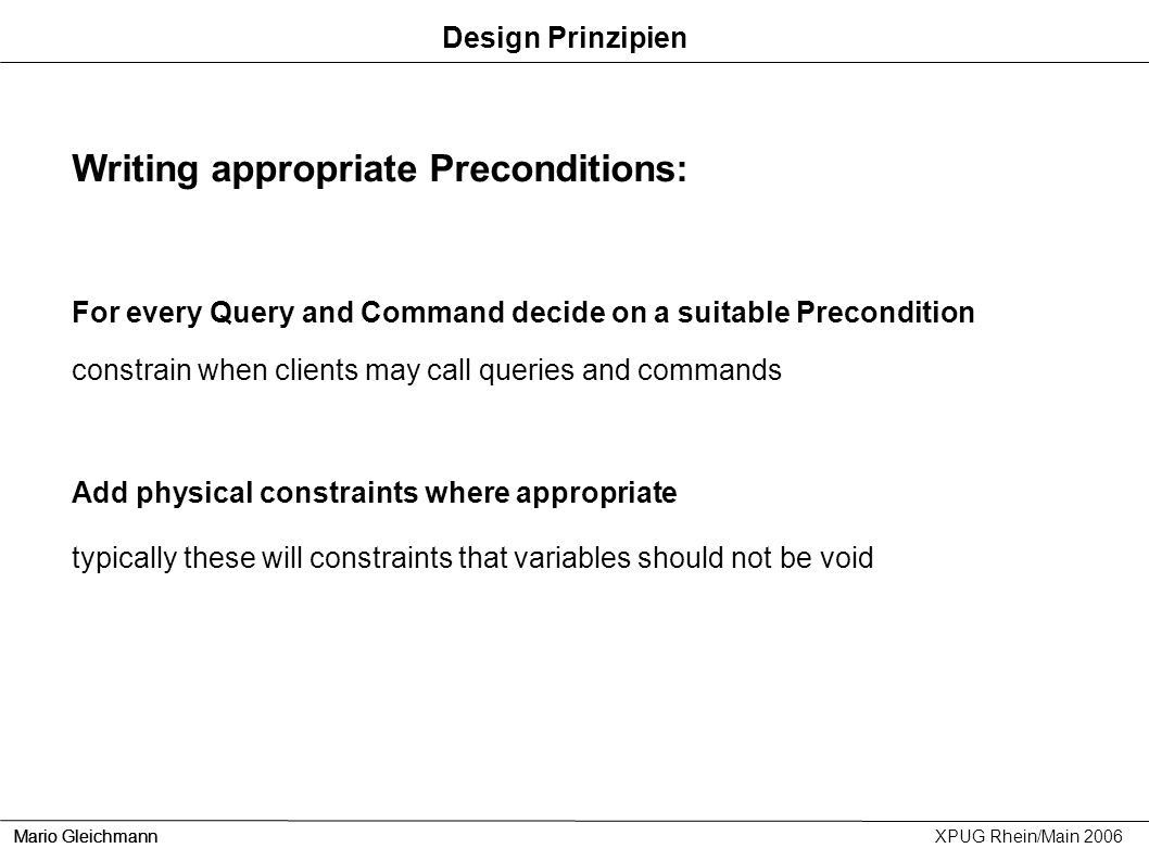 Writing appropriate Preconditions: