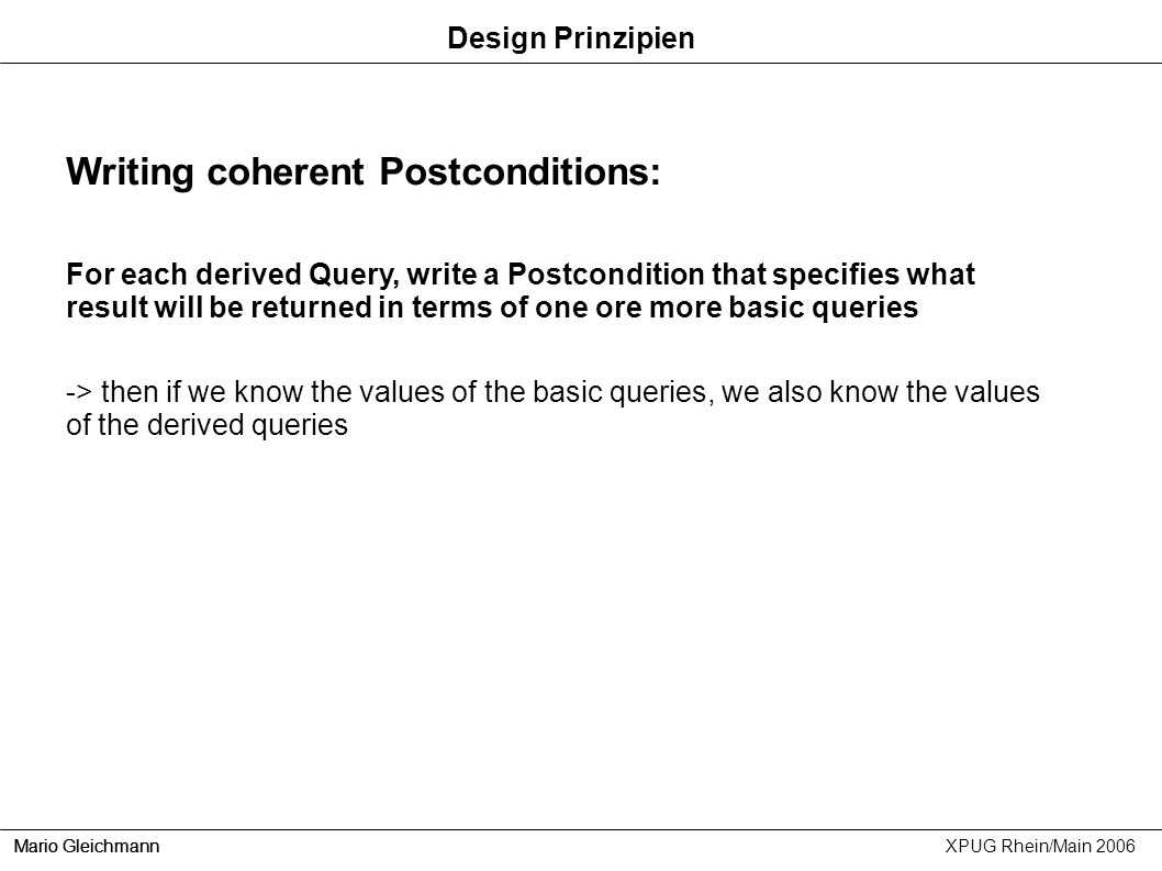 Writing coherent Postconditions: