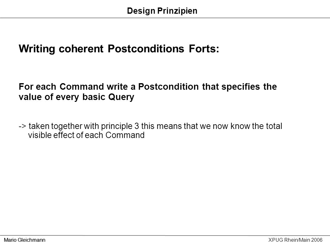 Writing coherent Postconditions Forts: