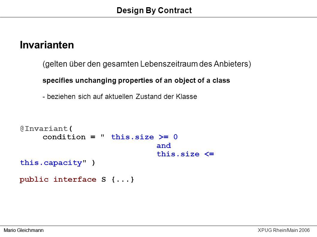 Invarianten Design By Contract